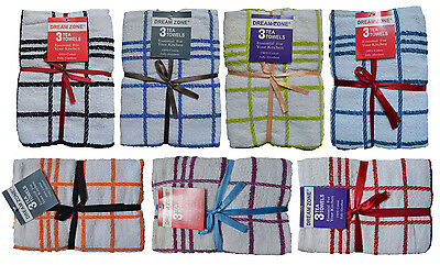 3 Pack 100% Cotton Check Terry Towel Tea Towels Dish Cloths, Assorted Colors