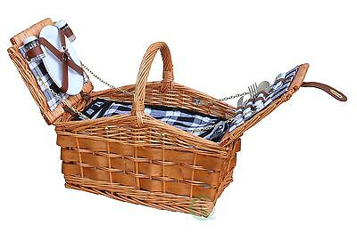 Fully Insulated Handwoven Willow Picnic Basket, Service for 2