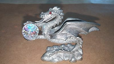 Spoontiques - Pewter Dragon with Crystal Ball ~ CMR603 - 1985