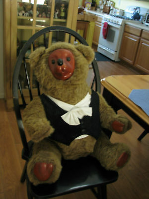 Vintage 1986 Applause Large Robert Raikes Teddy Bear Tyrone Wood Face Feet