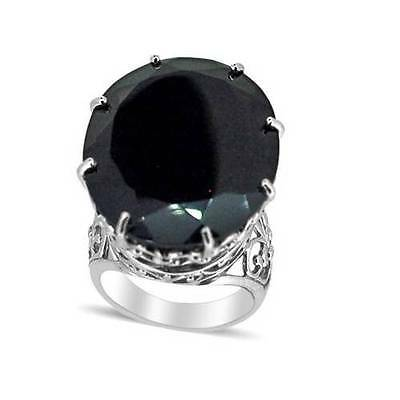 70ct Boi Ploi Black Spinel Solitaire Ring in Rhodium OL Sterling Silver Size T
