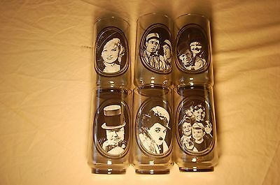 6 1979 Arby's Collector Glasses  Mae West, Chaplin, Rascals, Fields & more