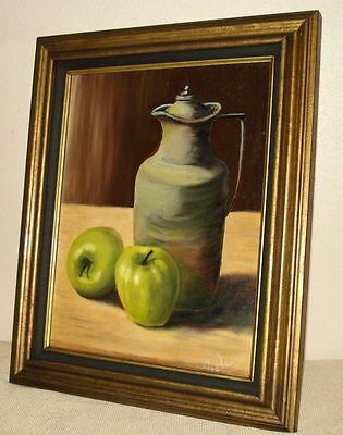 "Exhibited 1972 Frances Poole Oil Painting on board ""Apple With Pitcher"""