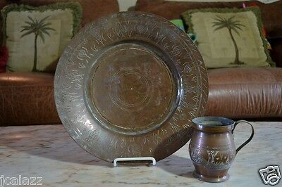 Antique Islamic Turkish Ottoman Silver Copper Plate & Cup ~Hand-chased SIGNED