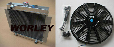 3 core aluminum radiator + fan for Ford Escort Mk1 Mk2 RS2000 1968-1980 Manual