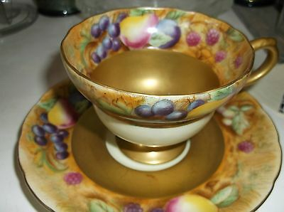 Occupied Japan Cup and Saucer American Beauty Lots of Gold and Fruit