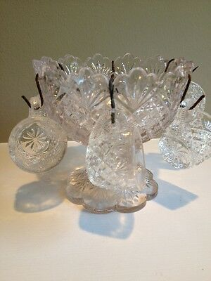 Estate Child's Minature Cut Glass Punch Bowl with 6 Matching Cups
