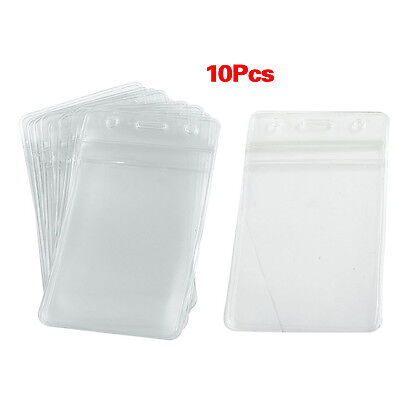 10 pcs Soft Plastic Vertical BusIness ID Card Badge Holders ED