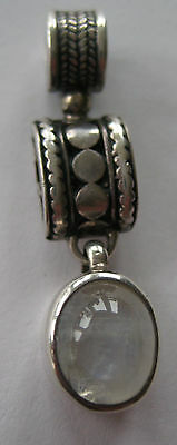 ESTATE STERLING SILVER PENDANT OVAL MOON STONE 2.5 CARATS HAND ARTISAN 6.3 GR