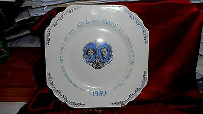 """1939 WEDGWOOD GEORGE VI ROYAL VISIT TO CANADA AND UNITED STATES 8 3/8"""" sq. PLATE"""