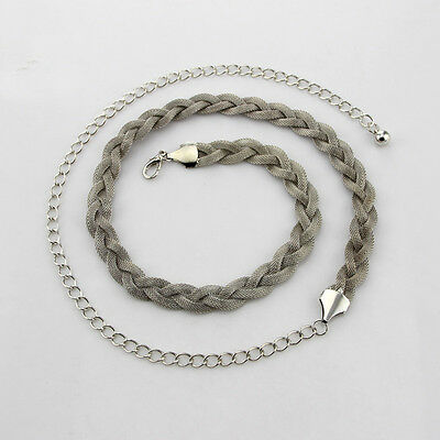 Women Silver Plaited Ladies Waist Chain Charm Fashion Belt Adjustable Metal Thin