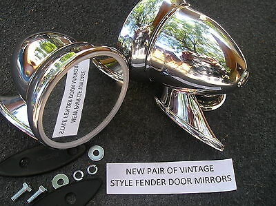 NEW PAIR OF 50`S ~ 60`S CHROME BULLET STYLE RACING MIRRORS !