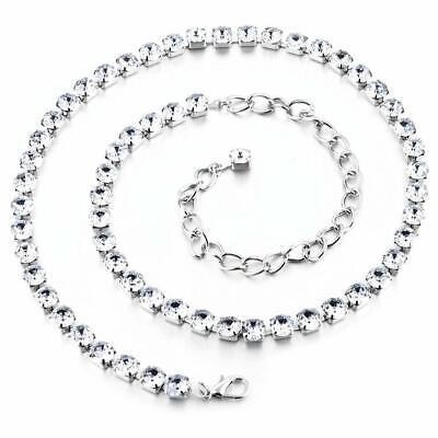 Diamante Diamond Ladies Waist Chain Charm Belt Silver Women's Fashion  8mm