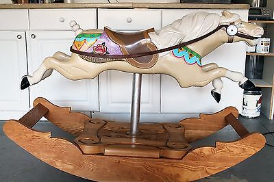 Vintage Carved Solid Wood Carousel Rocking Horse Hand Painted Folk Art