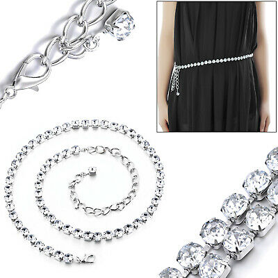 Diamante Diamond Ladies Waist Chain Charm Belt in Silver 1 Row Silver