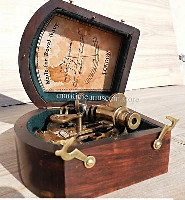 3 Inch Beautiful Handicraft Brass Sextant with wooden Box.