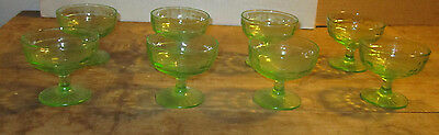 Set 8 Block Optic Green Vaseline  Low Sherberts No Chips Anchor Hocking Glass