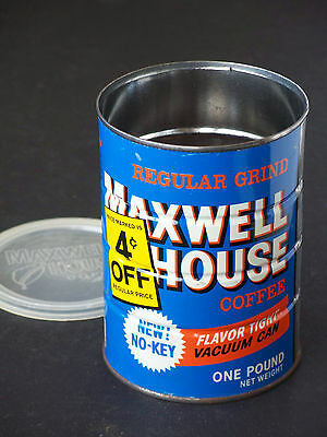 """Vintage """"NEW NO-KEY"""" 4 CENTS OFF! 1-lb. Maxwell House Regular Grind Coffee Tin"""