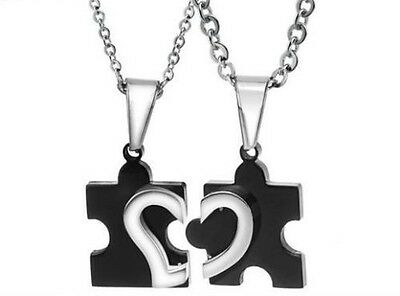 His and Hers Romantic Stainless Steel Puzzle Love Heart Couple Pendant Necklaces