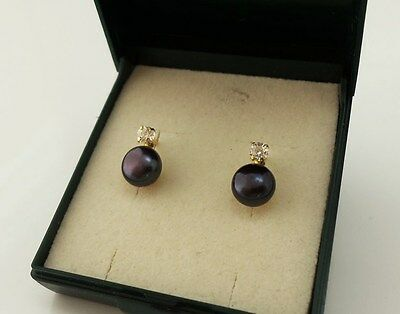 Genuine 9ct Gold over Sterling Silver Black Freshwater Pearl Stone Set Earrings.