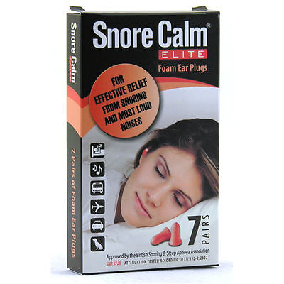 Snore Calm Elite Earplugs Effective Relief from Snoring & Most Loud Noises 7prs