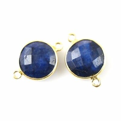 Gemstone Links - Vermeil - Faceted Coin Shape  - Dyed Blue Sapphire