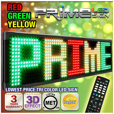 "20mm TriColor 53""x15"" Programmable LED Sign Scrolling Message Display Out/Indoor"