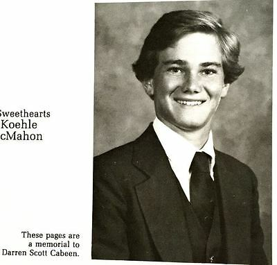 """1984 TEXAS A & M yearbook AGGIELAND""""~ memorial dedication for a young man"""