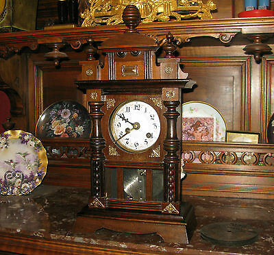 "Beautiful ""Junghans"" antique clock with ""Arion"" Disc type Music Box. Ultra rare"