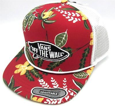 566e27358c5 Vans Off The Wall Surf Patch Adjustable Trucker Hat Mens Tropical Red Cap  NWT