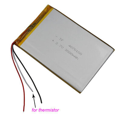 3.7V 3000 mAh 3 wires thermistor Polymer Li Battery For GPS Tablet PC  4070100
