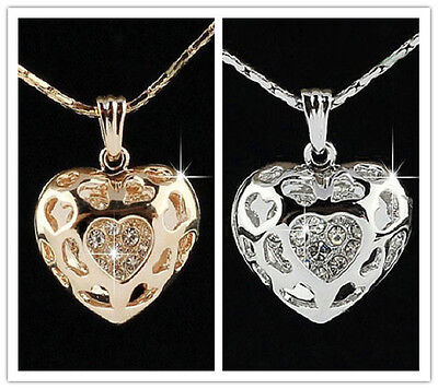18k gold & silver crystal rhinestones heart pendant jewelry necklace