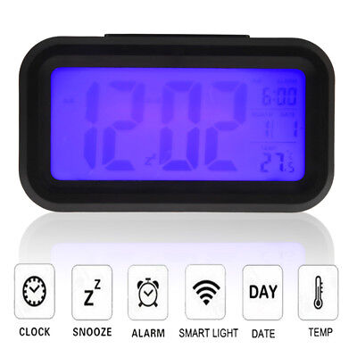 Digital Snooze Electronic LED Alarm Clock Backlight Time Calendar Thermometer