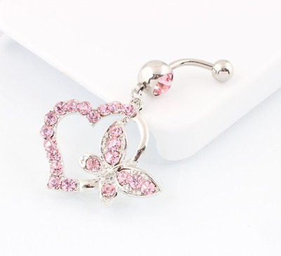 Stunning Pink Crystal Heart Butterfly Dangle Belly/Navel Bar Surgical Steel UK