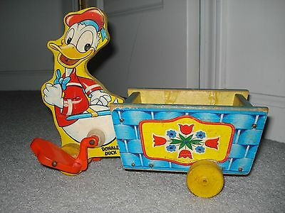 1940's DONALD DUCK WITH BLUE BASKET FISHER PRICE PULL TOY