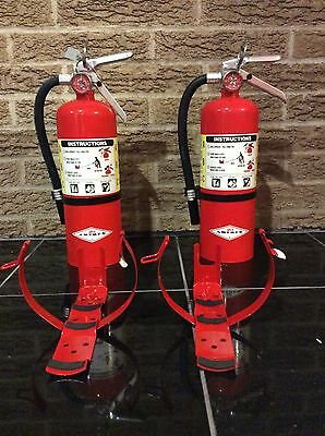 SET OF (2) NEW AMEREX 5lb ABC FIRE EXTINGUISHER B402T AND CERTIFICATION TAG