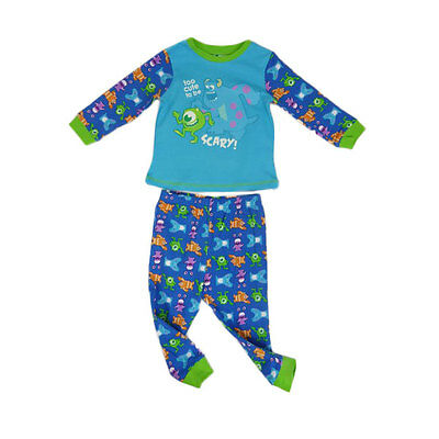 Disney Baby Boys Monster's Inc Glow in the Dark Pajamas Size 0-1-2 Mike & Sully