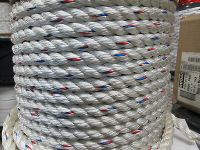 "5/8"" x 100' 3 Strand Poly Dacron hoist rope,rigging rope,7,200 lb  JUST REDUCED!"