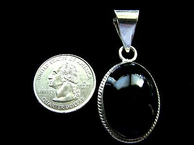 Vintage Mexican Sterling Silver and Black Onyx Pendant