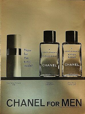 """1969 Chanel for Men """"for the total male"""" original print ad"""