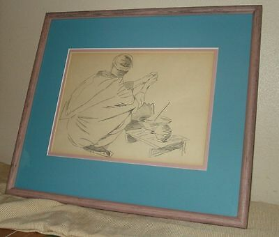 """""""Orientalist Pencil Drawing Crouched Man """" Signed and framed"""