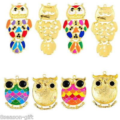 1PC New Gold Plated Fashion Owl Charm Pendant Enamel Alloy Jewelry Findings