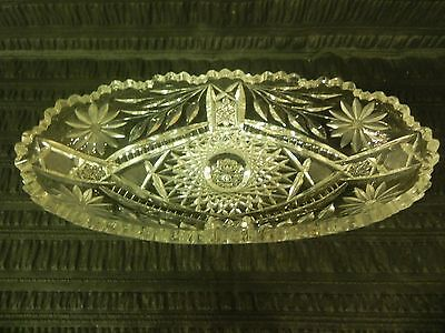 "Exquisite American Brilliant Period LARGE 11""Cut Glass OVAL TRAY Antique crystal"