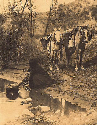 EDWARD CURTIS  Indian Tribe GETTING WATER APACHE Vintage Native American Print