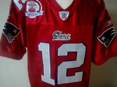 New England Patriots #12 Tom Brady w/50th Anni Patch sewn jersey New w/Tags RED