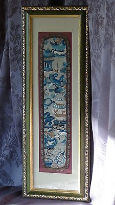Antique Chinese Forbidden Stitch Silk Embroidery Symbols ,Flowers,Framed