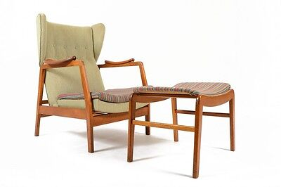 Danish Mid Century Modern Wingback Recliner Lounge Chair and Ottoman