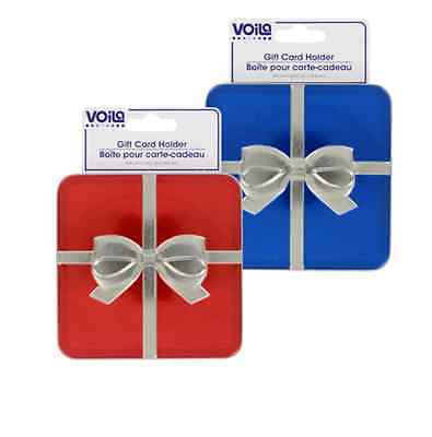 Gift Card Holder Tins with Bows Unique Collectible Red Blue Merry Christmas