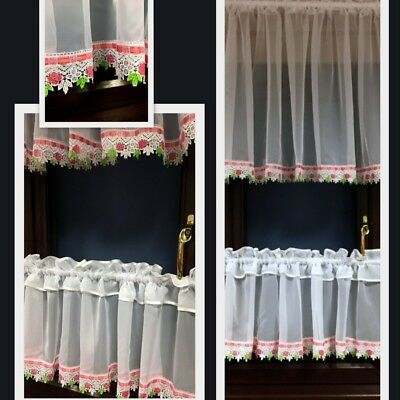 Beautiful Voile Cafe Net Curtains with Lace (Guipure) • £18.99 ...