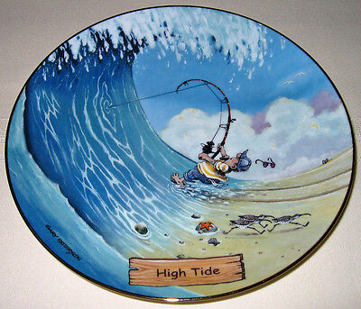 GARY PATTERSON Art Of Comical Fishing Giant Wave Great Big Catch HIGH TIDE Plate